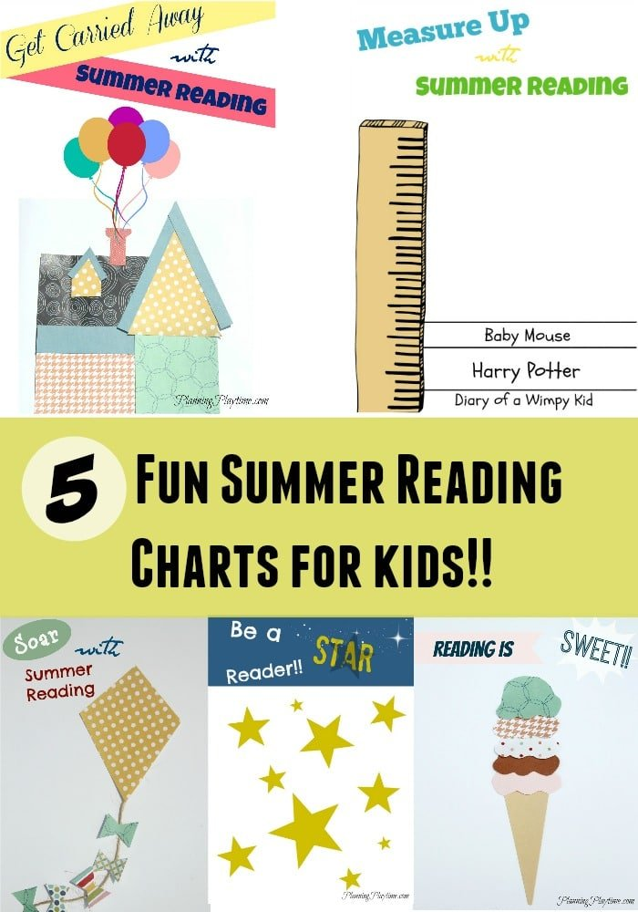 5 Fun Summer Reading Charts for Kids #summer #reading #chart #ideas #school