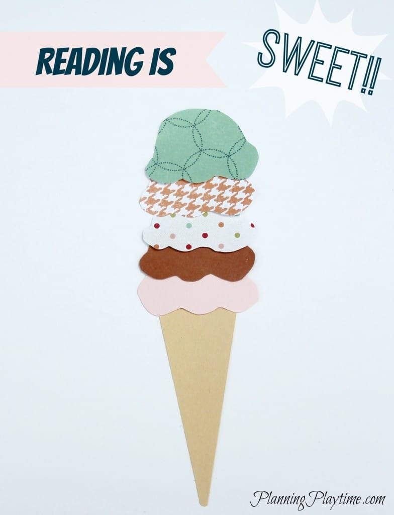 Ice Cream Cone Summer Reading Chart - Each time they finish a book they write it on a scoop and place it on top of the cone.  Take them out for ice cream when they read a specified number of scoops.