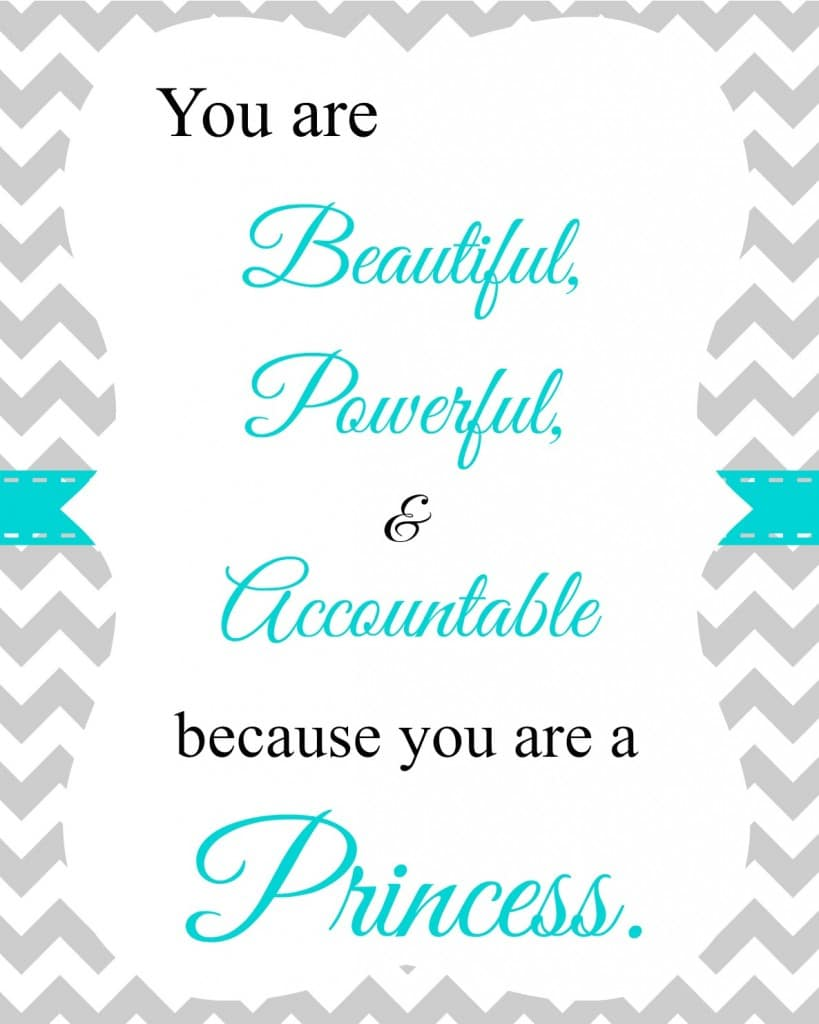 Free Printable Princess Wall Hanging Quote  www.PlanningPlaytime.com #princess #quotes #girls