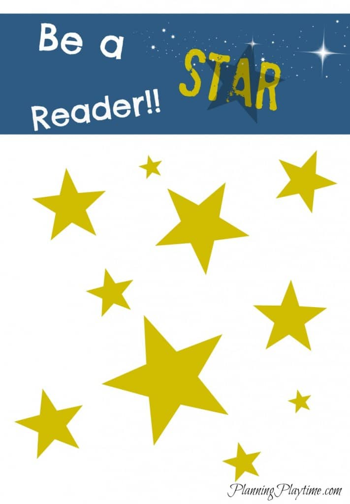 Be a Star Reader Summer Reading Chart - Each time your child finishes a book, have them write the title on a star and place it on the chart.  Offer a reward for a certain number of stars.  More Summer Reading Charts available in this post.