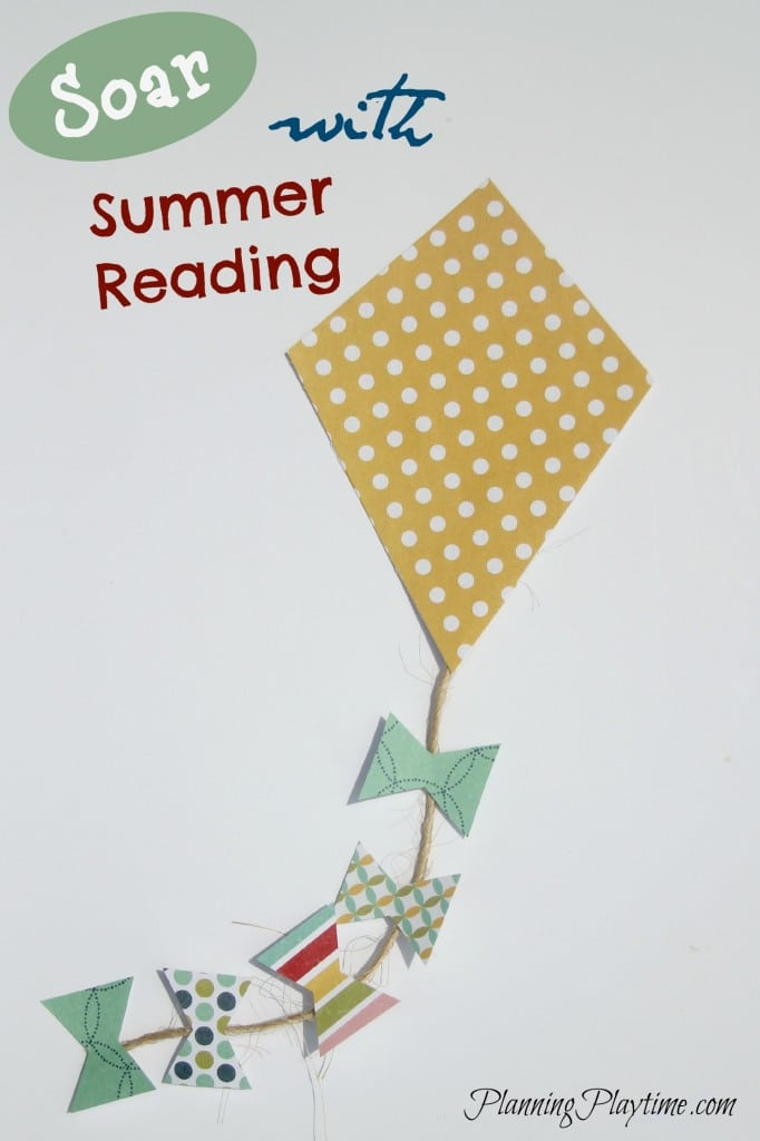 Kite Summer Reading Chart - Each time they finish a book, have them write the title on a bow and add it to the tail.  More Summer reading chart ideas in this post.