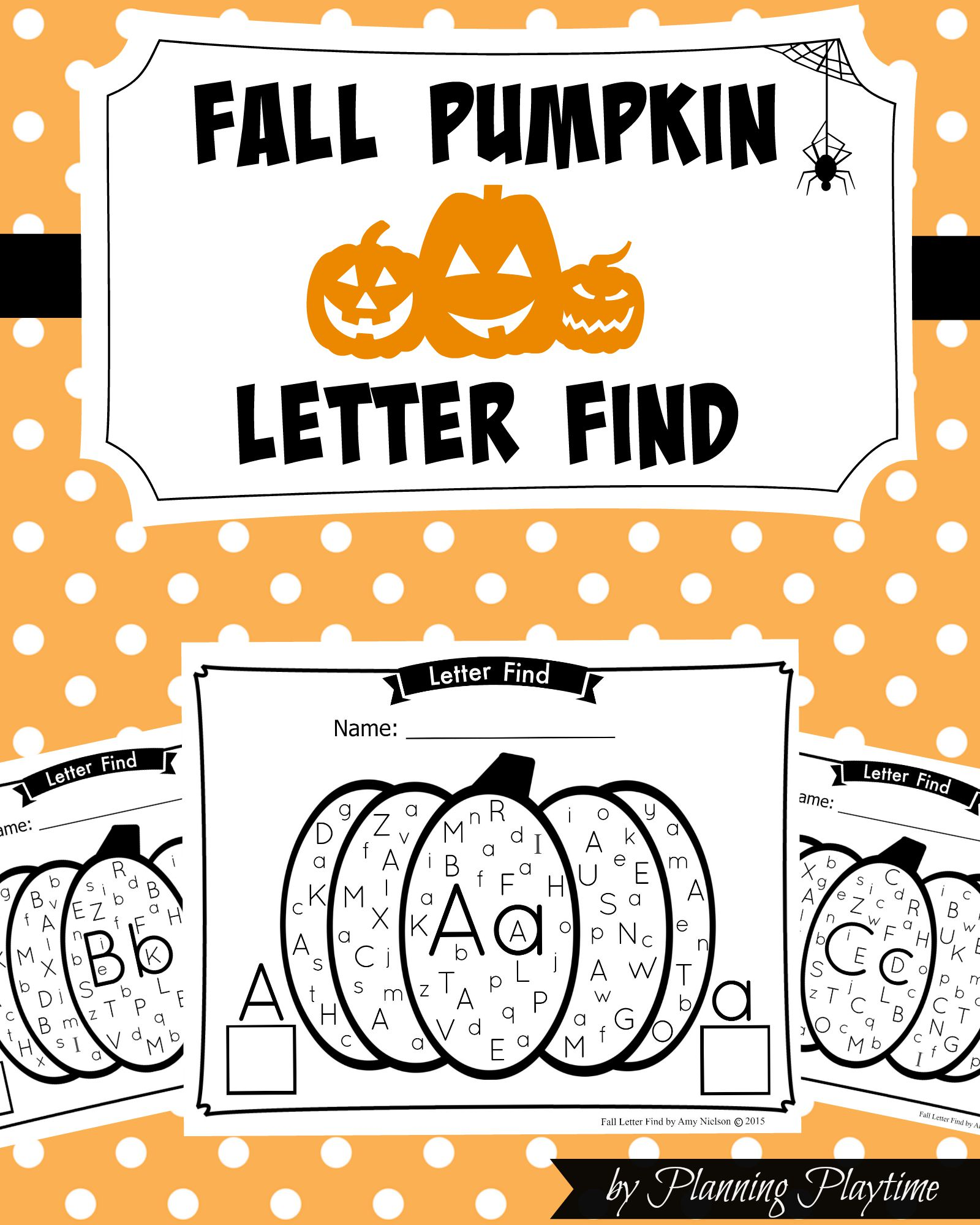 Fall Pumpkin Letter Find - Upper and lowercase by PlanningPlaytime