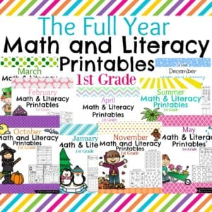 First grade math and literacy printable worksheets