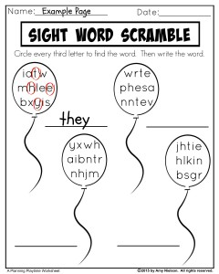 Sight Words Scramble Worksheets - Planning Playtime