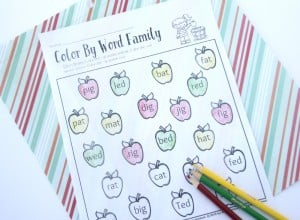 Color by word family 1st grade or kindergarten worksheet.