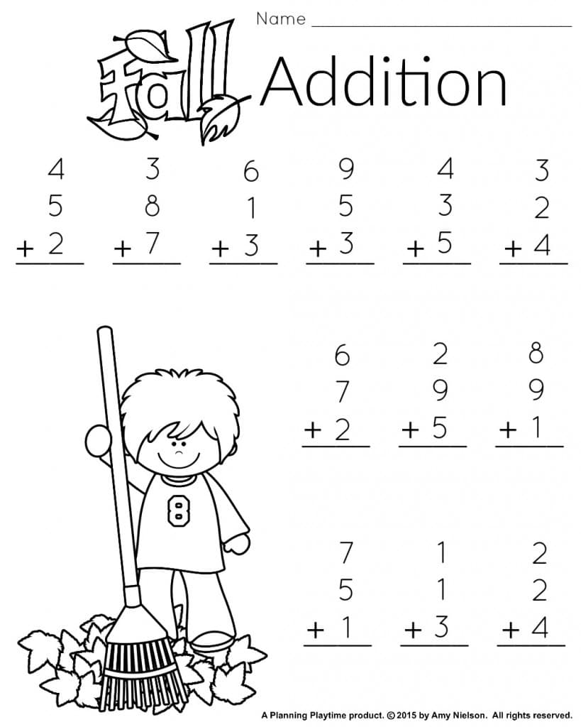 Worksheets Fall Math Worksheets 1st grade math and literacy worksheets with a freebie planning free printable addition worksheet for printable