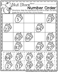 Fall First Grade Worksheets - Nut Store Number Order.