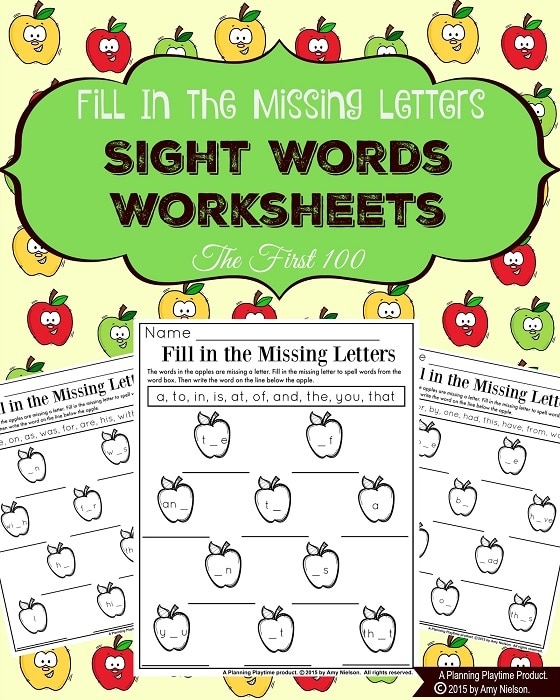 Sight Words Worksheets Fill In The Missing Letters Fall Apple