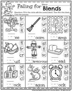First Grade Fall Worksheets - Falling for Blends