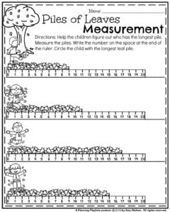 First Grade Fall Worksheets - Piles of Leaves Measurement.
