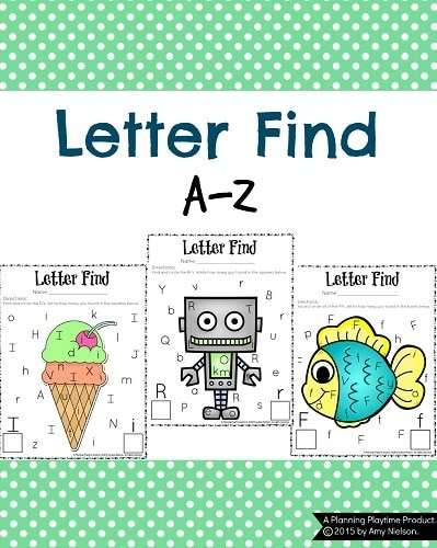 Cute Letter Find Worksheets for preschool and kindergarten. Color or Black and white.