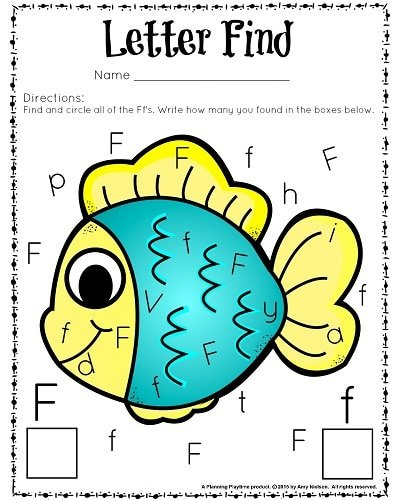 Cute letter find worksheets for preschool and kindergarten.