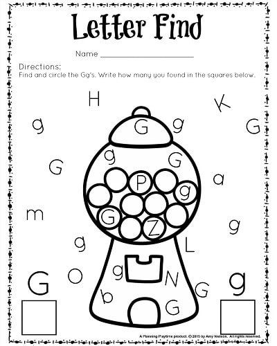 FREE printable Letter Find Worksheet for preschool and kindergarten. G is for Gumball. Super cute!