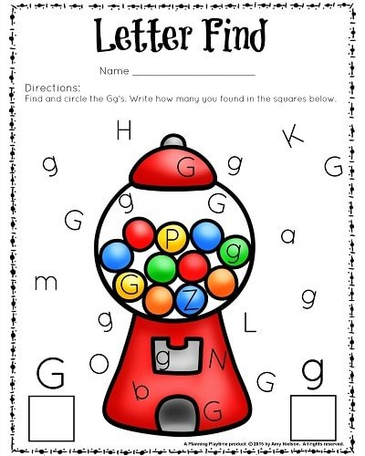 FREE Printable Letter Find Worksheet for preschool or kindergarten. Letter G.