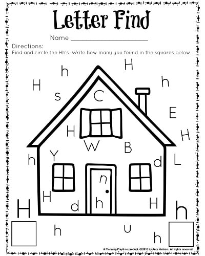 Letter Find worksheet for kindergarten and preschool. Great for letter recognition and counting.