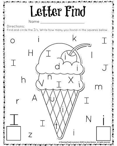 Letter I Worksheet Cute letter find worksheets with a freebie ...