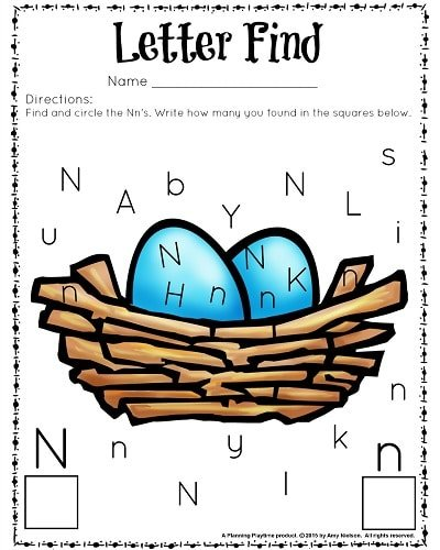 Cute letter find worksheets for preschool or kindergarten in color or black and white.