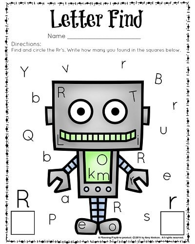 Cute letter find worksheets for preschool or kindergarten. In color and black and white.
