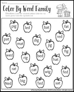 Word families worksheet for 1st grade.