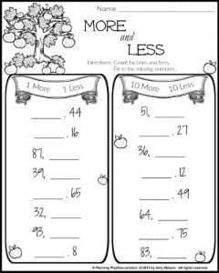 10 more 10 less worksheet for 1st grade math.