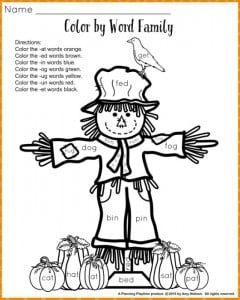 Word Families worksheets for fall