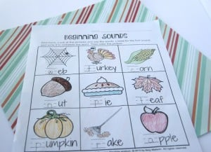 Beginning Sounds Thanksgiving 1st grade worksheet