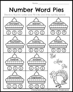 Number words worksheet for 1st grade math.