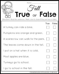 Read and answer true or false questions for 1st grade.