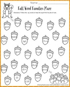 Fall Word Families Worksheets For Kindergarten Or St Grade  Word Families Worksheets For Fall
