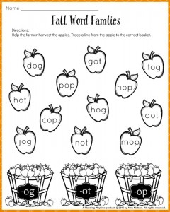 Printables Word Family Worksheets Kindergarten fall word families worksheets for kindergarten or 1st grade free printable worksheet firstgrade