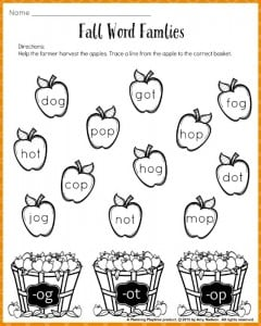 Fall Word Families Free Printable Worksheet for kindergarten or 1st grade. #kindergarten #firstgrade #printables #worksheets #free #reading
