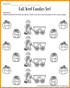 Word Families Worksheets for fall.