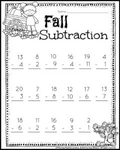Fall subtraction worksheets for 1st grade math.