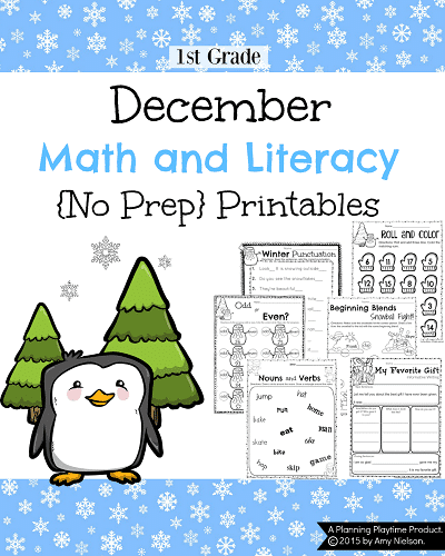 1st Grade December Math and Literacy worksheets. December subtraction, winter addition, skip counting, grammar, punctuation, writing, and more. #1st #grade #math #ela