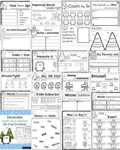 1st grade december math and literacy worksheets winter subtraction and addition december skip counting