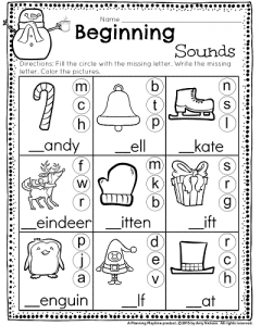 kindergarten math and literacy worksheets for december planning playtime. Black Bedroom Furniture Sets. Home Design Ideas