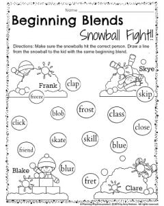 1st Grade December worksheets - Beginning blends snowball fight. Help the children aim their snowballs. Draw a line from each snowball to the kid with a matching blend.