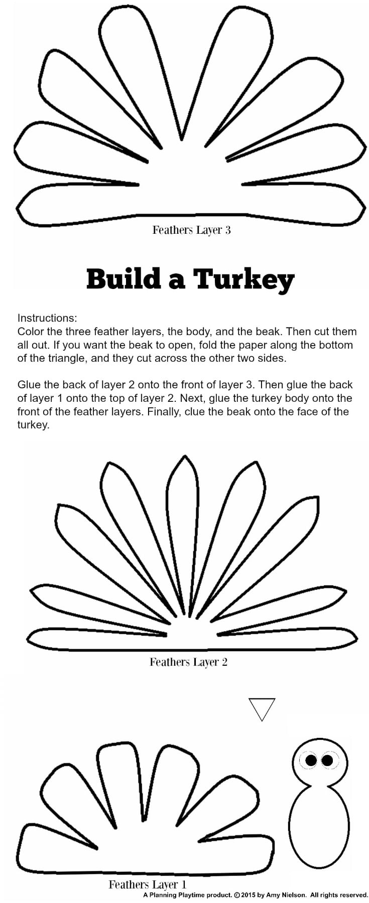 picture relating to Turkey Cut Out Printable named Lovable Turkey Craft w/ No cost Printable Template - Designing Playtime