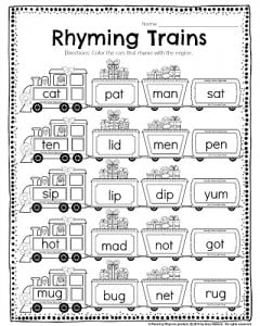 kindergarten math and literacy worksheets for december  planning  kindergarten rhyming worksheet  rhyming trains color the cars that rhyme  with the engine