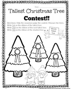 Kindergarten Measurement Worksheet - Tallest Christmas Tree Contest. Give the trees awards after measuring and comparing their heights. #kindergarten #math #worksheets #printables
