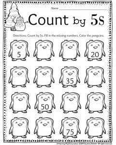 1st Grade December Count by 5s Penguins math worksheet. Fill in the missing number and color the penguins.