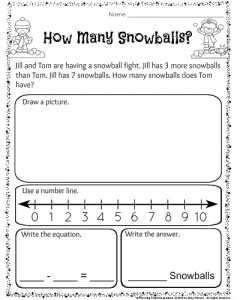 math worksheet : 1st grade december math and literacy worksheets  planning playtime : Addition And Subtraction Word Problems Worksheets 1st Grade
