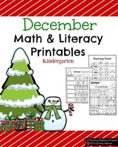 Kindergarten Math and Literacy Printables for December with a Freebie. #kindergarten #worksheets #printables