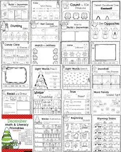 math worksheet : kindergarten math and literacy worksheets for december  planning  : Reading Readiness Worksheets For Kindergarten