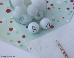 Letter Recognition activity using ping pong balls, and other great educational activities too. #preschool #kindergarten #alphabet