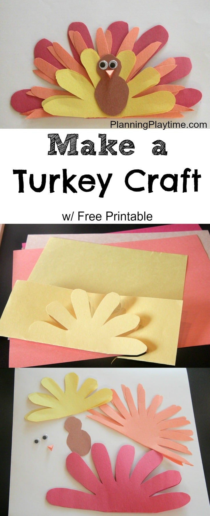 Cute turkey craft w free printable template planning for Thanksgiving craft templates printable