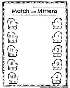kindergarten math and literacy worksheets for december  planning  kindergarten tally worksheet  match the mittens draw a line from each  mitten to its