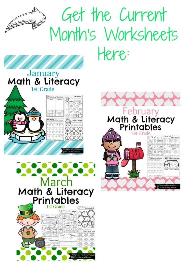 Monthly First Grade Worksheets