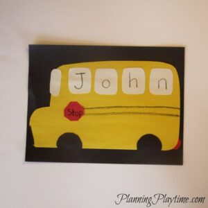 School Bus Name Craft for preschool, and other cute name crafts.