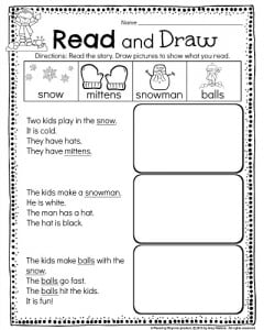 math worksheet : kindergarten math and literacy worksheets for december  planning  : Kindergarten Reading Worksheet